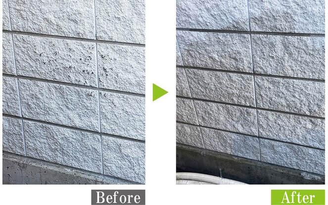 飲食店の化粧ブロックを安心・安全な環境対応型特殊洗浄G-Eco工法で施工